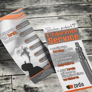 Zeda-Group: Flyer für E-Zigarretten-Service