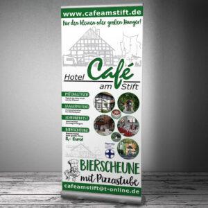 Messe-RollUp-Display für das Hotel-Café am Stift in Fischbeck
