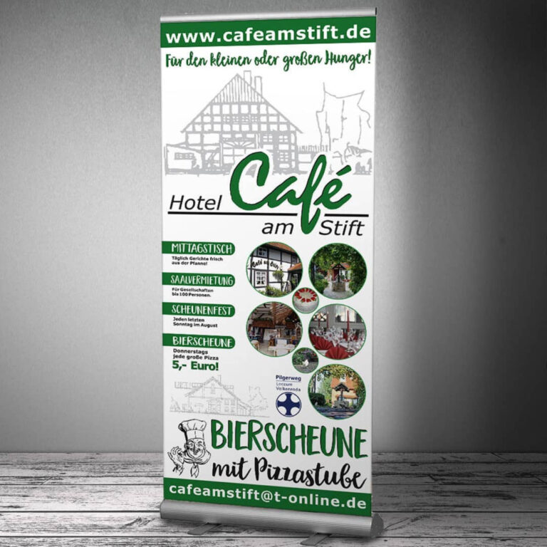 Messe-RollUp-Display für das Hotel-Café am Stift in Fischbeck