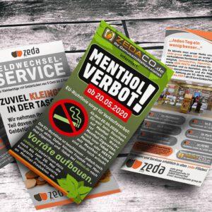 Menthol-Verbots-Flyer für Zeda und Zedaco.de