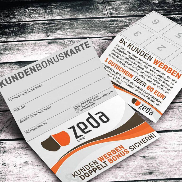 Bonuskarten für die Zeda-Group
