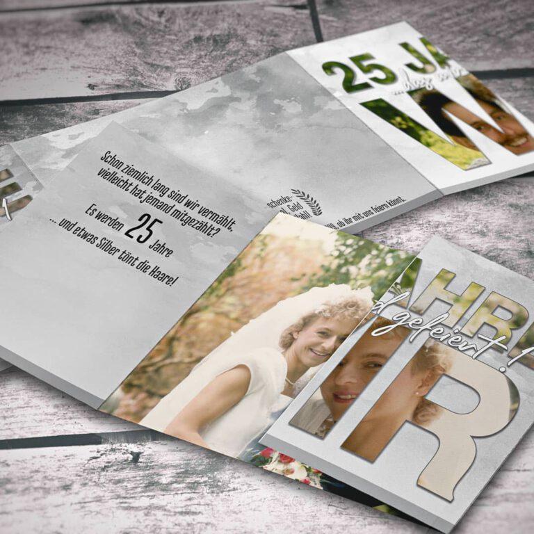 Einladungskarten mit Altarfalz zur Silberhochzeit