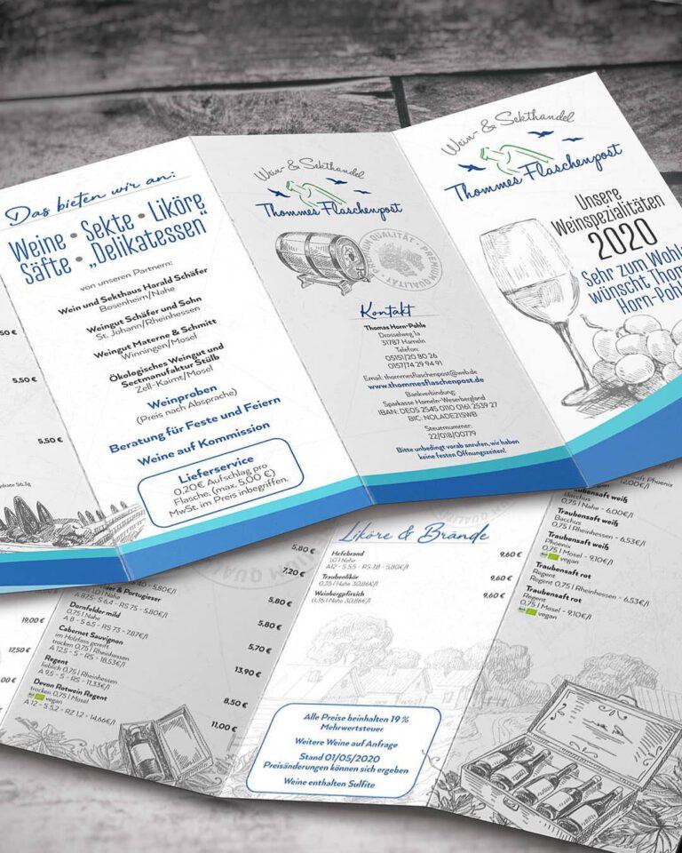 Weinkarte 2020 für Thommes Flaschenpost in Hameln 🍷