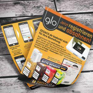 glo-Flyer mit Registrierungsanleitung für den Onlineshop zedaco.de