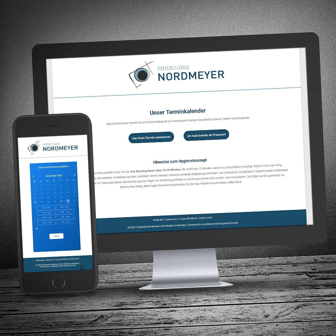 Website mit Online-Kalender, inkl. Terminbuchungsfunktion für Fotostudio Nordmeyer Hameln