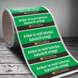 Etiketten und Aufkleber für den Onlineshop zedaco.de